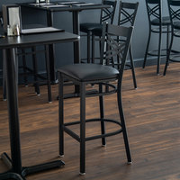Lancaster Table & Seating Cross Back Bar Height Chair with 2 1/2 inch Padded Seat - Detached Seat