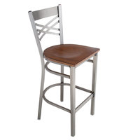 Lancaster Table & Seating Clear Coat Steel Cross Back Bar Height Chair with Antique Walnut Seat - Detached Seat