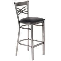 Lancaster Table & Seating Clear Coat Steel Cross Back Bar Height Chair with 2 1/2 inch Black Padded Seat - Detached Seat