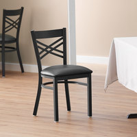 Lancaster Table & Seating Black Cross Back Chair with 2 1/2 inch Padded Seat - Detached Seat