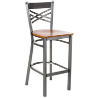 Lancaster Table & Seating Clear Coat Steel Cross Back Bar Height Chair with Cherry Wood Seat - Detached Seat