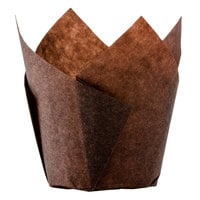 Hoffmaster 2 1/4 inch x 4 inch Chocolate Brown Tulip Baking Cup - 250/Pack