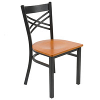 Lancaster Table & Seating Black Cross Back Chair with Cherry Wood Seat - Detached Seat