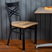 Lancaster Table & Seating Black Cross Back Chair with Driftwood Seat - Detached Seat