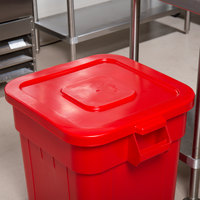 Continental 2801RD Huskee 32 Gallon Red Square Trash Can Lid