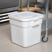 Continental Huskee 32 Gallon White Square Ingredient Bin / Trash Can and Lid