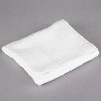 Oxford Silver 16 inch x 27 inch White Open End Cotton / Poly Hand Towel 3 lb. - 300/Case