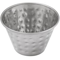 Choice 4 oz. Hammered Stainless Steel Round Sauce Cup - 12/Pack