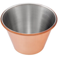 Choice 4 oz. Smooth Copper-Plated Stainless Steel Round Sauce Cup - 12/Pack