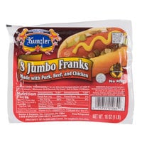 Kunzler 1 lb. Jumbo 8 Count Pack 8/1 Size Regular Franks - 12/Case