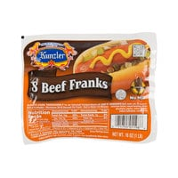 Kunzler 1 lb. 8 Count Pack 8/1 Size Beef Franks - 12/Case