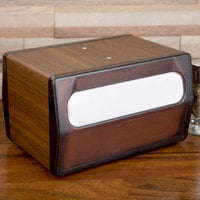 Vollrath 5515-12 Walnut Two Sided Tabletop Minifold Napkin Dispenser with Brown Faceplate