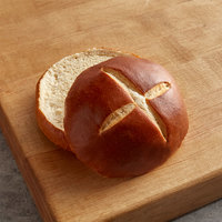 Wholesome Harvest 4 inch Sliced Pretzel Hamburger Bun 6 Count - 12/Case