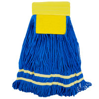 "Knuckle Buster MFSTM18YE 18 oz. Medium Knuckle Buster Microfiber String Mop Head with Yellow Scrubber and 5"" Band"