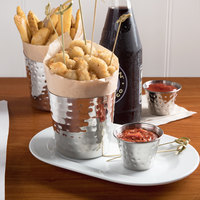 Choice 14 oz. Hammered Stainless Steel Appetizer / French Fry Holder with Flat Top