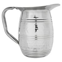 Acopa 64 oz. Hammered Stainless Steel Bell Pitcher with Ice Guard