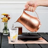 Acopa 64 oz. Hammered Copper Stainless Steel Slender Bell Pitcher