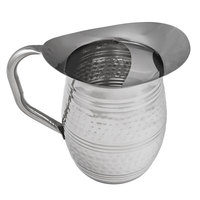 Acopa 96 oz. Hammered Stainless Steel Bell Pitcher with Ice Guard