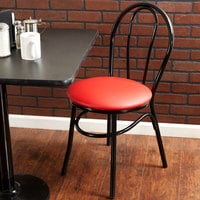 Lancaster Table & Seating Red Hairpin Cafe Chair with 1 1/4 inch Padded Seat - Detached Seat