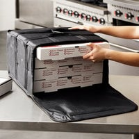Choice Insulated Pizza Delivery Bag, Black Nylon, 16 inch x 16 inch x 8 inch - Holds Up To (4) 12 inch or 14 inch Pizza Boxes