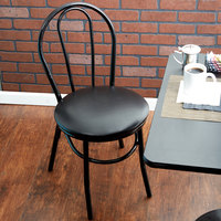 Lancaster Table & Seating Black Hairpin Cafe Chair with 1 1/4 inch Padded Seat - Detached Seat