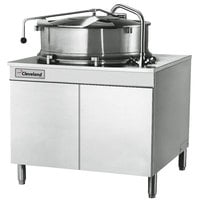 Cleveland KDM-40-T 40 Gallon 2/3 Steam Jacketed Direct Steam Tilting Kettle with Cabinet Base