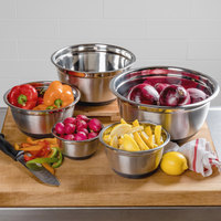 Choice Stainless Steel Mixing Bowls with Silicone Non-Slip Bases - 5/Set