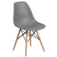 Flash Furniture FH-130-DPP-GY-GG Elon Series Moss Gray Plastic Accent Side Chair with Wood Base