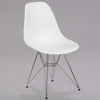 Flash Furniture FH-130-CPP1-WH-GG Elon Series White Plastic Accent Side Chair with Chrome Base