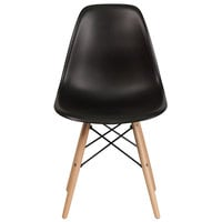 Flash Furniture FH-130-DPP-BK-GG Elon Series Black Plastic Accent Side Chair with Wood Base
