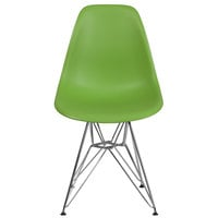 Flash Furniture FH-130-CPP1-GN-GG Elon Series Green Plastic Accent Side Chair with Chrome Base