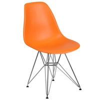 Flash Furniture FH-130-CPP1-OR-GG Elon Series Orange Plastic Accent Side Chair with Chrome Base