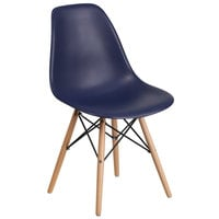 Flash Furniture FH-130-DPP-NY-GG Elon Series Navy Plastic Accent Side Chair with Wood Base