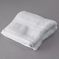 Oxford Vicenza Bianco 16 inch x 32 inch 100% Ringspun Combed Cotton Hand Towel with Dobby Border 6 lb. - 12/Pack