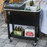 Choice 65 Qt. Black Beverage Cooler Cart - 31 1/8 inch x 15 3/8 inch x 32 11/16 inch