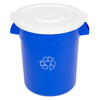 Continental Huskee 20 Gallon Blue Round Recycling Trash Can and Lid Kit