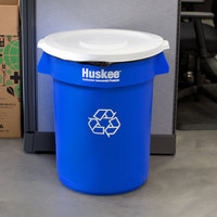 Continental Huskee 32 Gallon Blue Round Recycling Trash Can and Lid Kit
