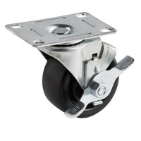 Beverage-Air Equivalent 3 inch Swivel Plate Caster with Brake for DW49, DW79, DW94, WTRCS72, WTRCS84, and WTRCS112 Series