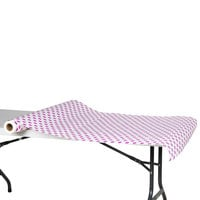 40 inch x 100' Paper Table Cover with Purple Polka Dots