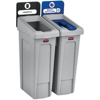Rubbermaid 2007914 Slim Jim 2-Stream Rectangular Recycling Station Kit with Open and Mixed Recycling Lids