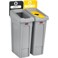 Rubbermaid 2007916 Slim Jim 2-Stream Rectangular Recycling Station Kit with Open and Bottle Lids