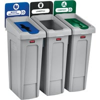 Rubbermaid 2007918 Slim Jim 3-Stream Rectangular Recycling Station Kit with Open, Closed, and Mixed Recycling Lids