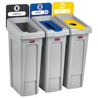 Rubbermaid 2007917 Slim Jim 3-Stream Rectangular Recycling Station Kit with Open, Paper, and Bottle Lids