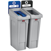 Rubbermaid 2007915 Slim Jim 2-Stream Rectangular Recycling Station Kit with Open and Paper Lids