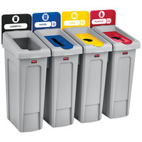 Rubbermaid 2007919 Slim Jim 4-Stream Rectangular Recycling Station Kit with Open, Paper, and 2 Bottle Lids