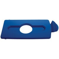 Rubbermaid 2007889 Slim Jim Recycling Blue Rectangular Hinged Bottle Lid Insert