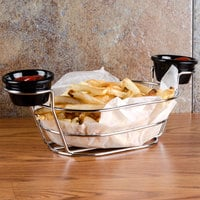 American Metalcraft BSKC69 Chrome Oblong Wire Basket with Ramekin Holders - 9 inch x 6 inch x 4 inch