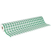 40 inch x 300' Paper Table Cover with Green Gingham Pattern