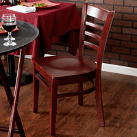 Lancaster Table & Seating Mahogany Finish Wooden Ladder Back Cafe Chair - Detached Seat