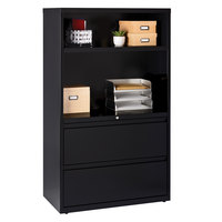 Hirsh Industries 16778 Black Two-Drawer Lateral Combination File Cabinet - 36 inch x 18 5/8 inch x 60 inch